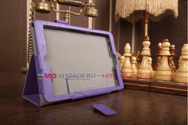 """Фирменный чехол-книжка для Acer Iconia Tab A1-830/A1-831 с визитницей и держателем для руки фиолетовый натуральная кожа """"Prestige"""" Италия"""