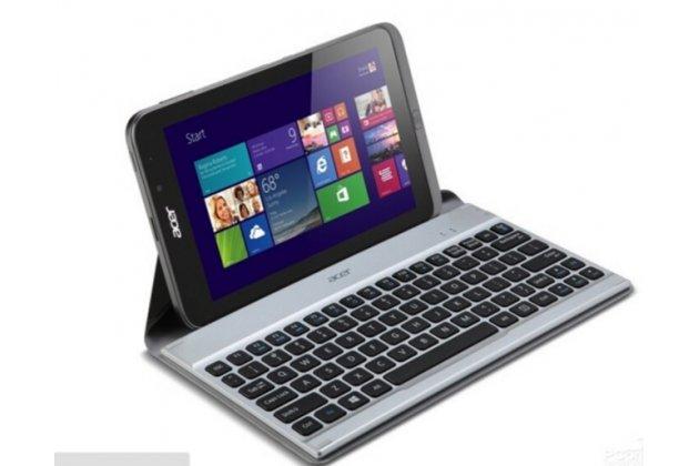 Фирменная оригинальная съемная клавиатура/док-станция/база для планшета Acer Iconia Tab W4-820/W4-821/W3-810/W3-811 серебристого цвета + гарантия + русские клавиши