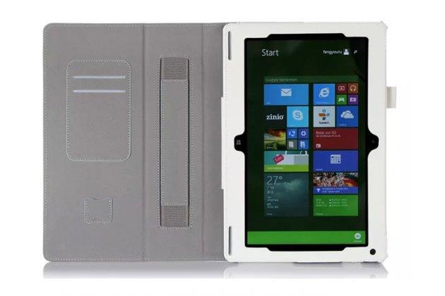"""Фирменный чехол бизнес класса для Acer Aspire Switch 10 (SW5-011) с визитницей и держателем для руки белый натуральная кожа """"Prestige"""" Италия"""