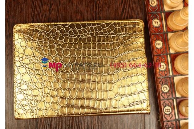 Эксклюзивный чехол обложка футляр для iPad Pro 12.9 кожа крокодила золотой. Только в нашем магазине. Количество ограничено