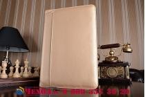 Фирменный оригинальный чехол-клатч-сумка с визитницей для iPad Pro 12.9 из качественной импортной кожи золотой