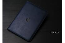 """Фирменный чехол бизнес класса для  iPad Pro 12.9"""" с визитницей и держателем для руки синий натуральная кожа """"Prestige"""" Италия"""