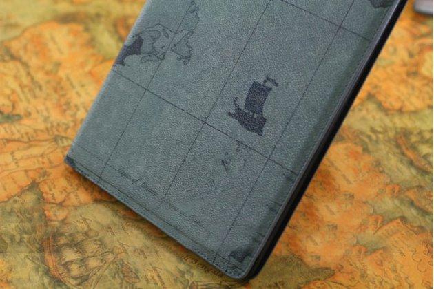 """Фирменный чехол-обложка для iPad 2/3/4 new тематика """"карта мира"""" кожаный серый"""