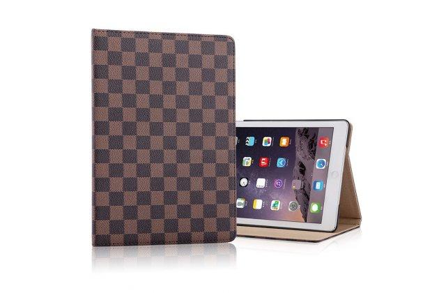 Фирменный чехол-обложка для iPad Mini 2 retina/ iPad Mini 3 в клетку коричневый кожаный