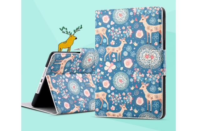 "Чехол для iPad Mini с рисунком  ""тематика Олени в цветах"" кожаный"