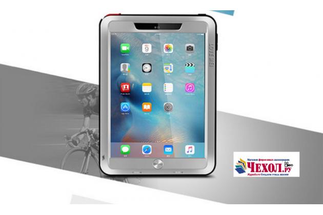 """Неубиваемый водостойкий противоударный водонепроницаемый грязестойкий влагозащитный ударопрочный фирменный чехол-бампер для iPad Pro 9.7"""" серебряный цельно-металлический со стеклом Gorilla Glass"""