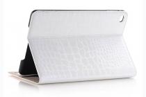 Фирменный чехол для iPad Mini 4 лаковая кожа крокодила белый