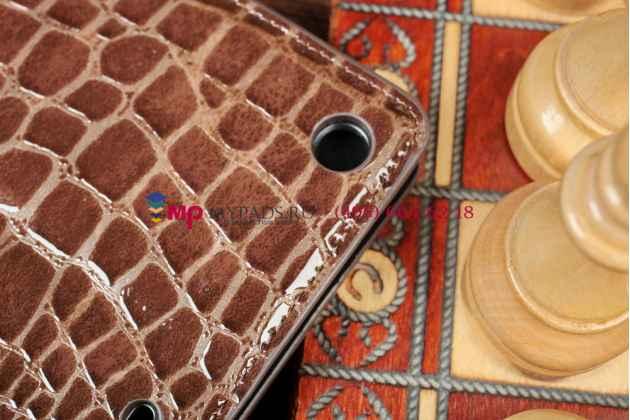 Фирменный чехол-футляр с мульти-подставкой для iPad Air 1 кожа крокодила шоколадный коричневый