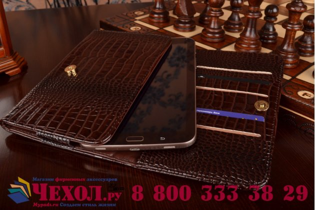 Фирменный роскошный эксклюзивный чехол-клатч/портмоне/сумочка/кошелек из лаковой кожи крокодила для планшетов Acer Iconia One 8 B1-820. Только в нашем магазине. Количество ограничено.