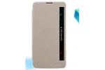 Фирменный чехол-книжка для LG Stylus II 2 K520 / Stylus 2 Plus K520DY / LS775 (F720 / K535N) 5.7 золотой с окошком для входящих вызовов водоотталкивающий