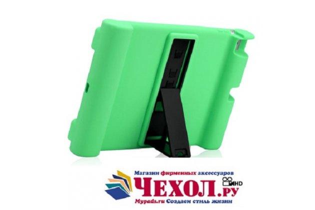 Фирменная ультра-тонкая полимерная из мягкого качественного силикона задняя панель-чехол-накладка со съемной подставкой для iPad Air 2 зеленая