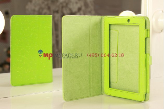 Чехол-обложка для Acer Iconia Tab A110/A111 лаковый с блестками зеленый