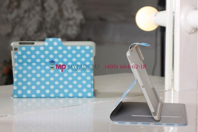 Чехол в крапинку под далматинца для iPad Mini бело-голубой горох