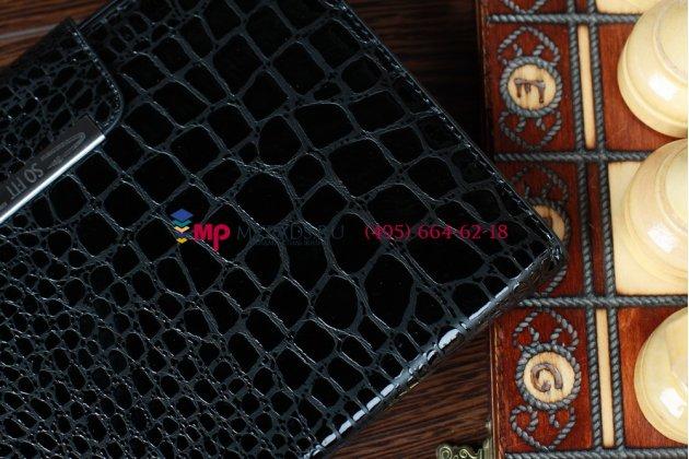 Лаковая блестящая кожа под крокодила чехол для iPad Mini кожа черный