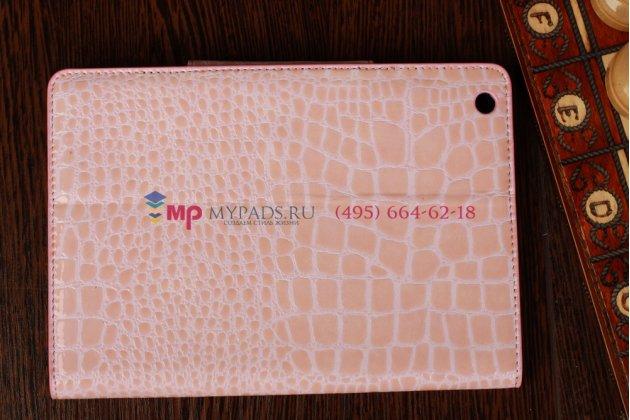 Лаковая блестящая кожа под крокодила чехол-футляр для iPad Mini нежный розовый